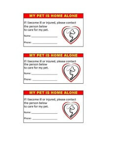 In Case of Emergency Pet Cards
